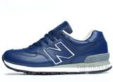 Кроссовки Мужские New Balance 574 Navy Blue White Leather