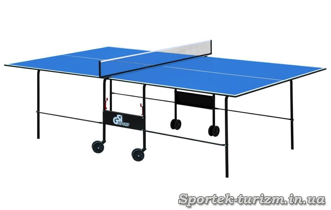 Складной теннисный стол для помещений на колесах (синий)