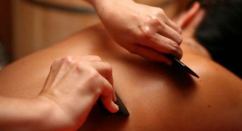 Скребок Гуаша для массажа, нефрит (темный)  7,5 см