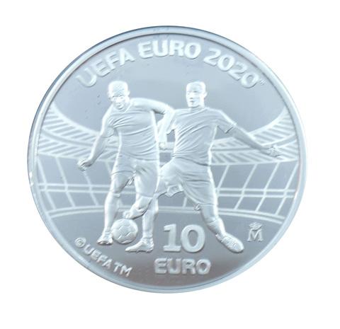 10 евро серебро Испания Чемпионат Европы По Футболу 2020 (UEFA EURO 2020) PROOF