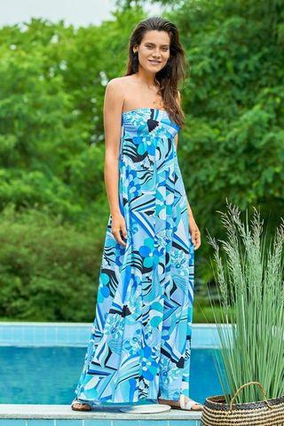 Сарафан летний из вискозы голубые цветы (61596) Laete