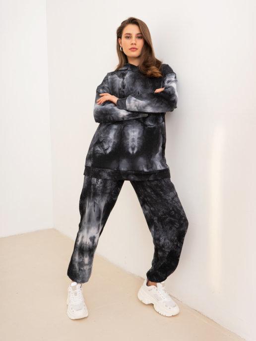 Brandmania Женский костюм-двойка (худи и брюки) Тай-дай черный