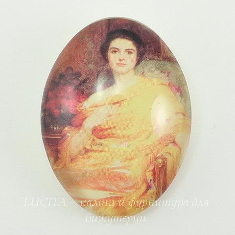 "Кабошон стеклянный  ""Девушка в желтом""  40х30х10 мм ()"