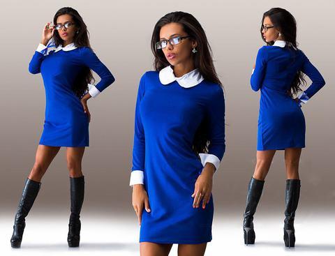 Короткое трикотажное платье с воротником, ярко-синее