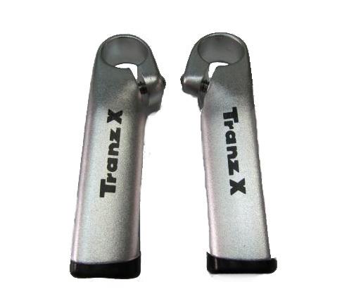Рога TranzX JD-894 на руль алюм.треуг.профиль,100мм серебристые
