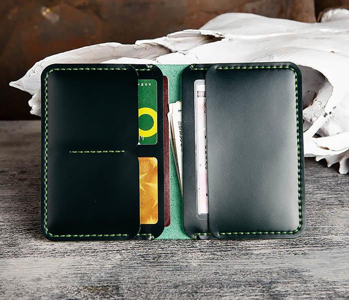 WB170-4 Обложка ручной работы из кожи зеленого цвета фото 07