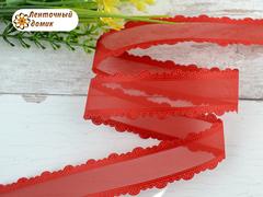 Органза красная с кружевным краем ширина 25 мм
