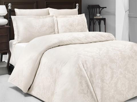 Комплект постельного белья DO&CO Сатин  жаккард PERLA 2 спальный (Евро) цвет кремовый