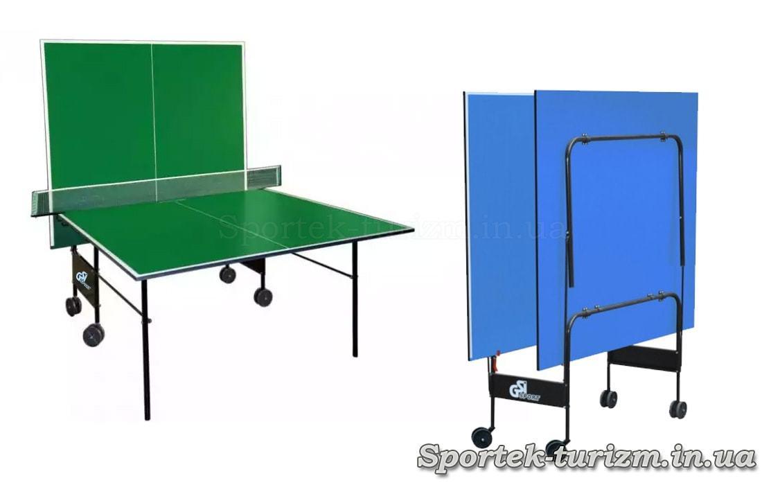 Складной теннисный стол для помещений на колесах (варианты)