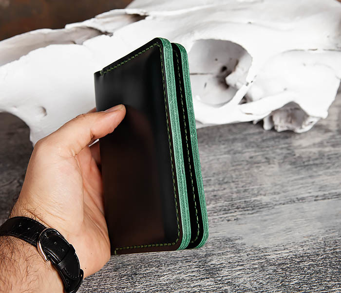 WB170-4 Обложка ручной работы из кожи зеленого цвета фото 09
