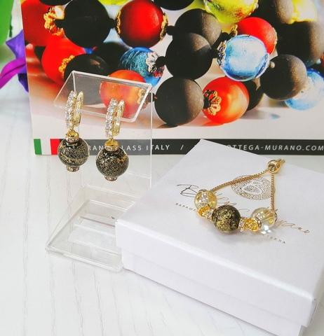 Комплект из браслета и серег со стразами Franchesca Ca'D'oro Medio Gold Black 064O
