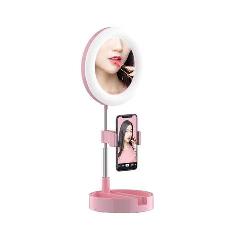 Светодиодное селфи кольцо для телефона с зеркалом