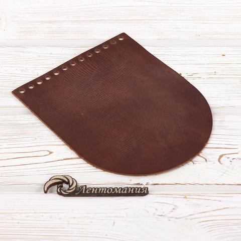 """Клапан для сумочки кожаный """"Кофейный Пулап"""" 19,5 см на 15,5 см"""