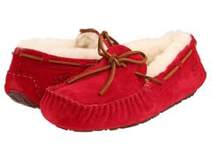 Женские мокасины UGG Moccasins Dakota for Women Red (с мехом)