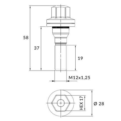 Болт колёсный М12x1.25 длина=19/37/58мм ключ=17мм шайба хром