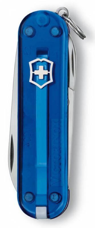 Нож-брелок Victorinox Classic (0.6223.T2) 7 функций, 58 мм. в сложенном виде, цвет синий полупрозрачный