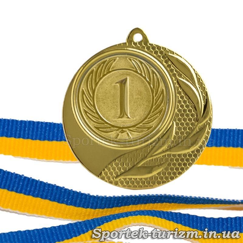 Золота медаль за 1 місце діаметром 40 мм з стрічкою