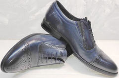 Красивые мужские туфли под брюки Ikoc 3805-4 Ash Blue Leather.