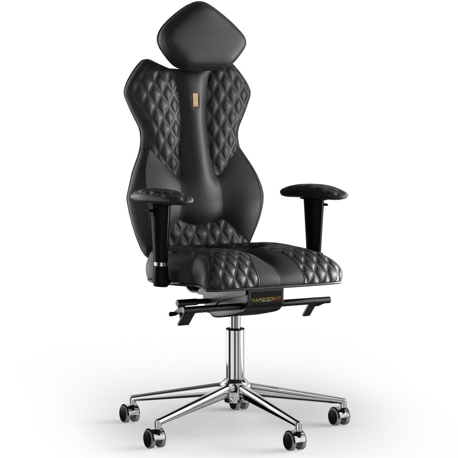 Кресло KULIK SYSTEM ROYAL Кожа с подголовником со строчкой