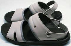 Мужские кожаные босоножки серого цвета Ikoc 3294-3 Gray.