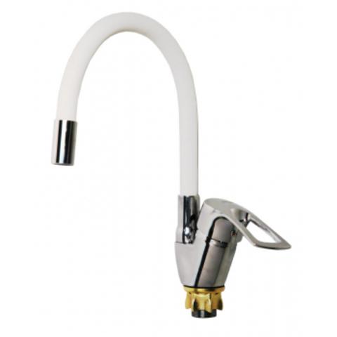VIKO 6448, смеситель для кухни, боковой с белым гибким изливом, картридж ф40, крепление с гайкой
