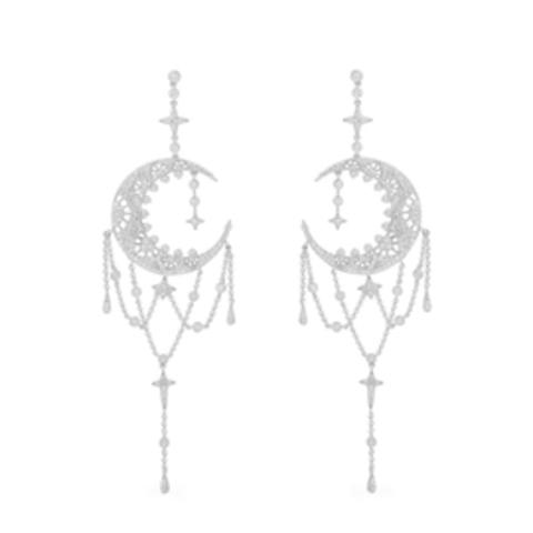 AE10034- Серьги из серебра с  микроцирконами в стиле APM MONACO