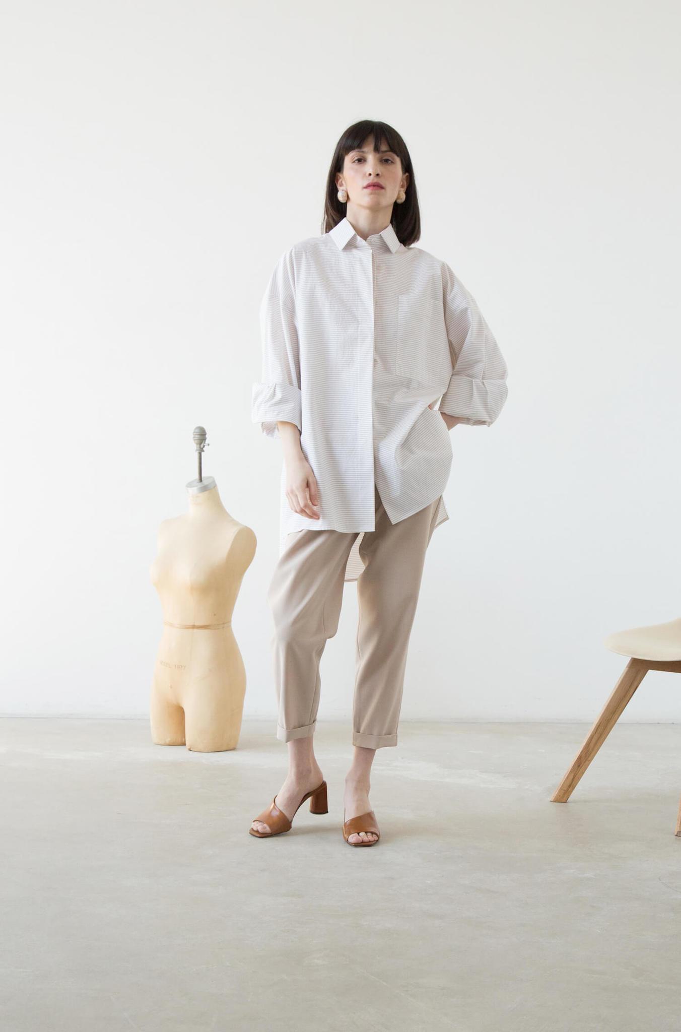 Рубашка оверсайз в мужском стиле, беж в полоску