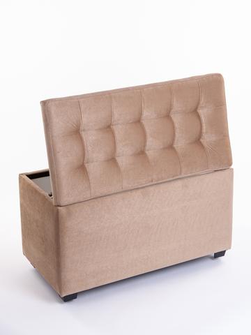 Пф-800-Я Пуфик квадратный (бежевый) с ящиком для хранения