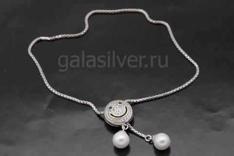 Браслет с жемчугом и цирконами из серебра 925