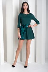 Бант. Коротка сукня з пишною спідницею. Смарагд