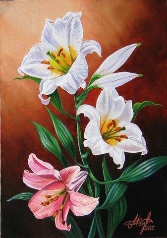 Картина раскраска по номерам 30x40 Веточка лилии