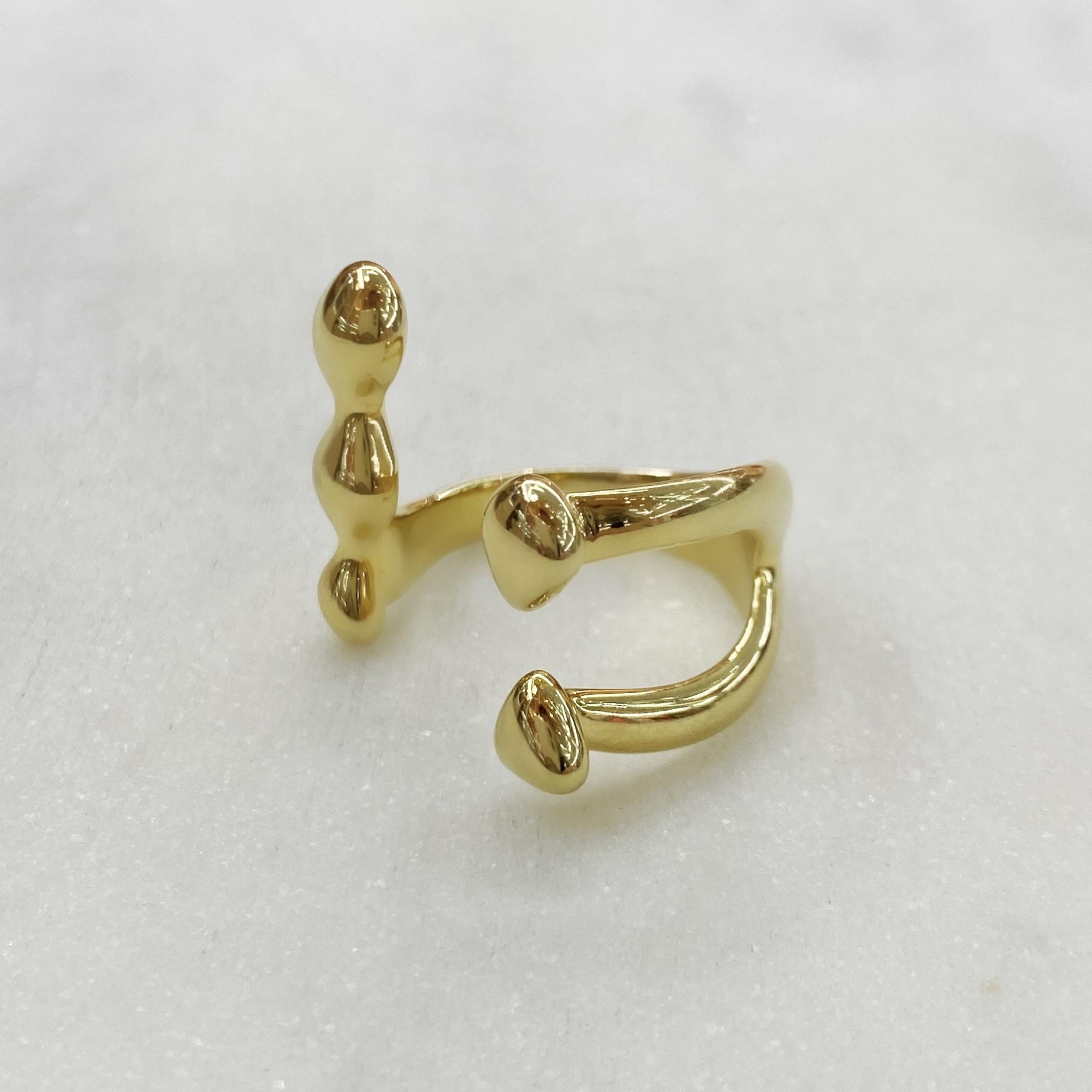 Кольцо Капли разомкнутое free size (золотистый)