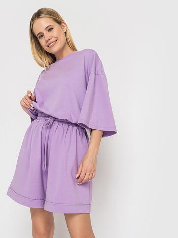 Костюм трикотажный (шорты и футболка) лиловый YOS