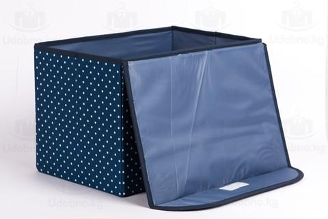 Средний складной кофр для одежды, 38*25*25 см (темно-синий в горошек)