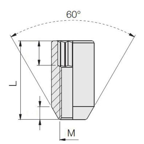 Гайка колёсная М14x1.5 длина=31мм внутренний 6-гранник конус хром