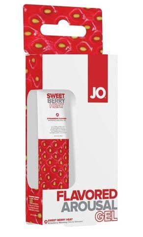 Стимулирующий клиторальный гель со вкусом клубники JO Sweet Berry Heat - 10 мл.