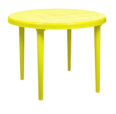 Пластиковый стол круглый желтый