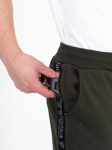 Спортивные штаны цвета хаки с лампасами, без манжета