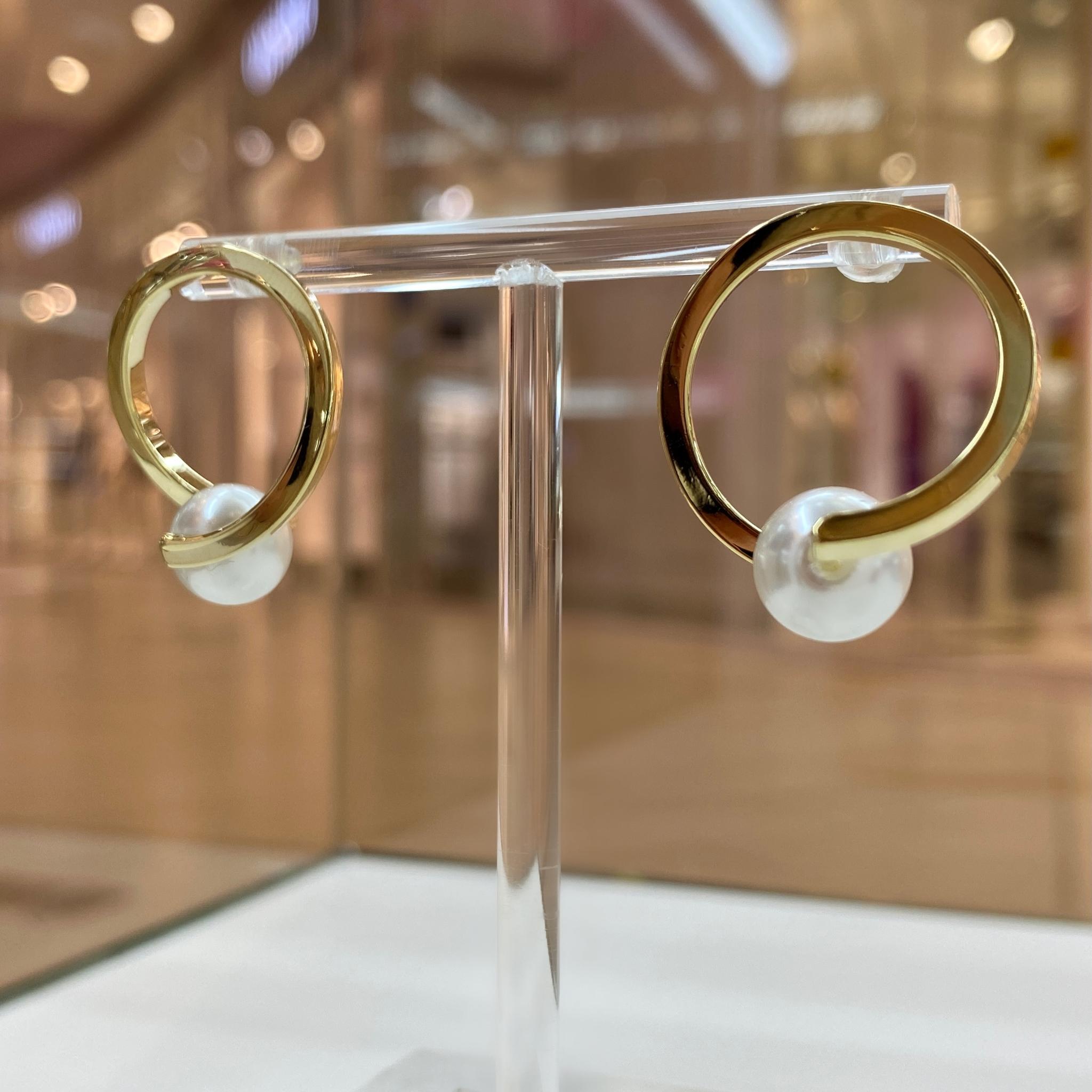 Серьги-кластеры в форме кольца с жемчужиной (золотистый)