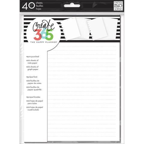 Внутренний блок для ежедневника 18х23,5 -Create 365 Happy Planner Fill Paper -White Note & Graph- 40л