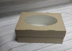 Коробка прямоугольная с окном, 17*25*10 см, крафт картон, 1 шт.