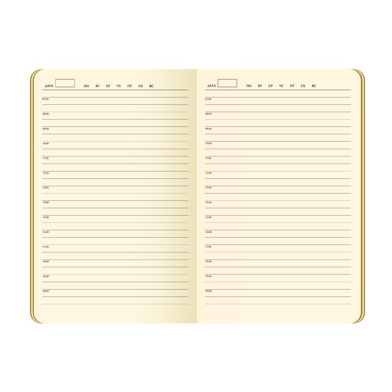 Ежедневник недатированный, Portobello Trend, Latte NEW, 145х210, 256 стр, зеленый/лимонный