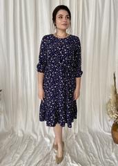 Дорі. Легке молодіжне весняне плаття з воланом. Синій