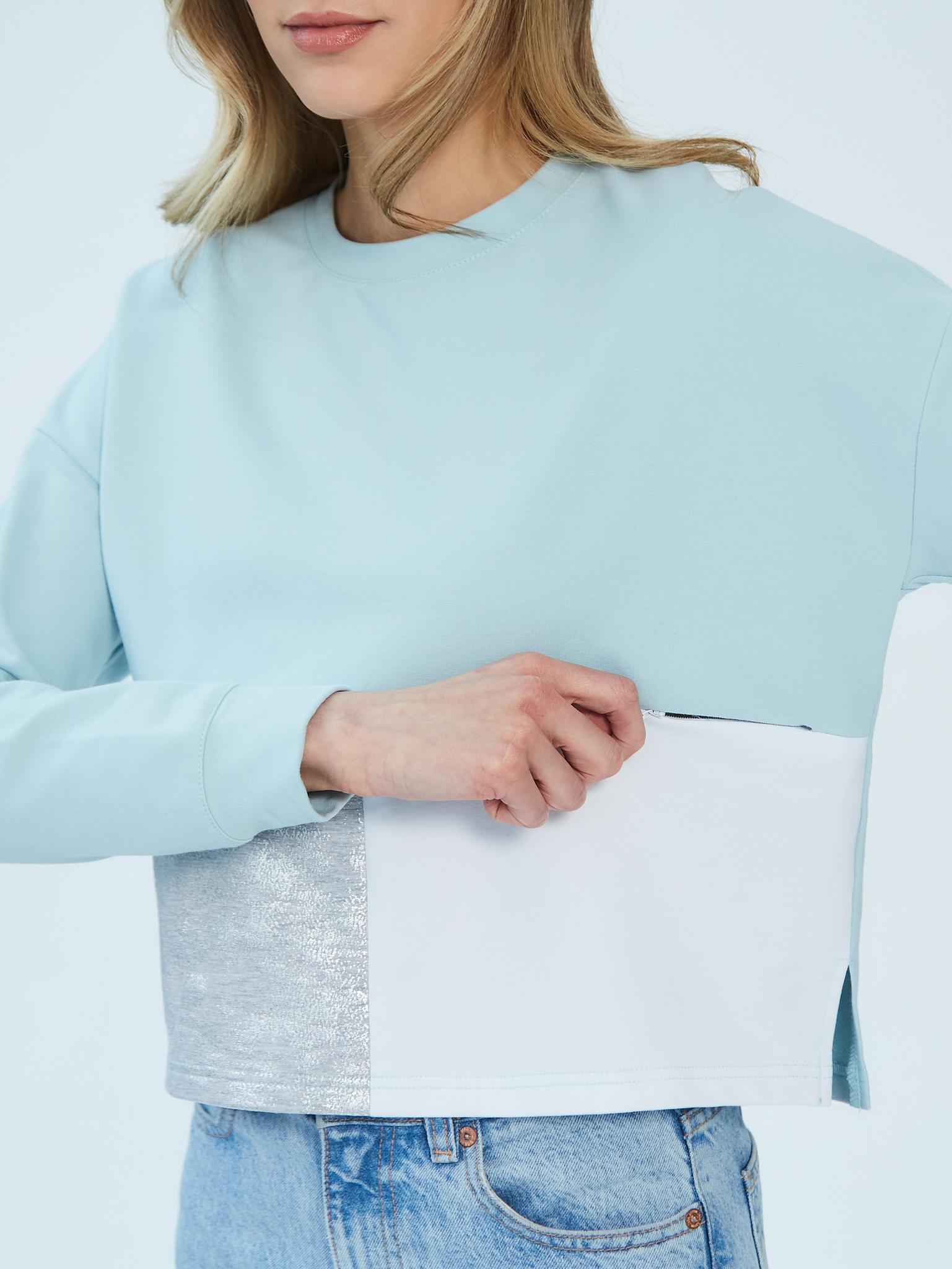 Стильный укороченный свитшот Chic mama для кормящих мам