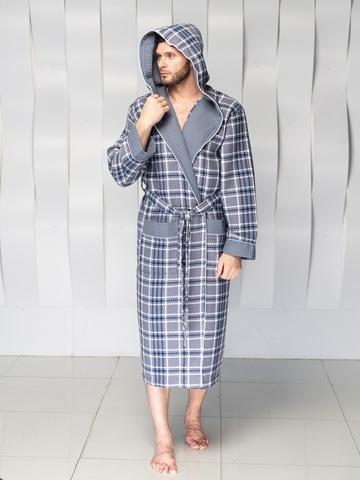 Вафельный мужской халат David с капюшоном серый