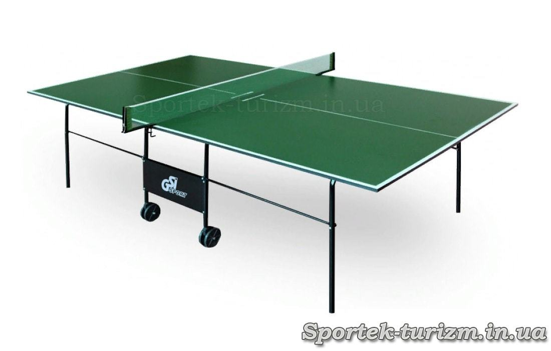 Складной теннисный стол для помещений на колесах (зеленый)