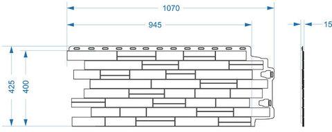 Фасадная панель Деке Благородный 945х400 мм Циркон