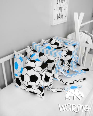 Набір бортиків-подушок в ліжечко 30x30см ФУТБОЛ