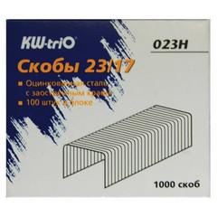 Скобы для степлера N23/17 KW-Trio 023H, оцинкованные 1000 шт в уп