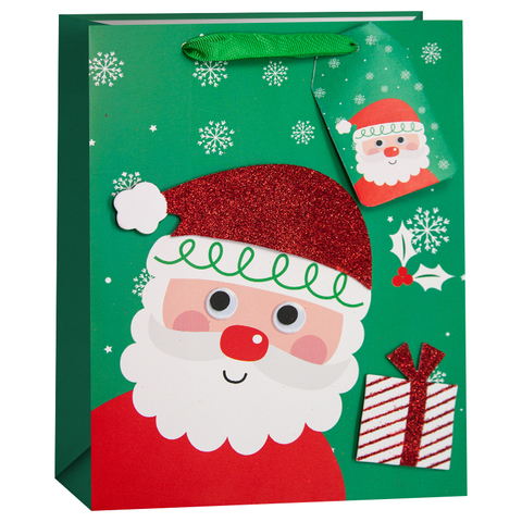 Пакет подарочный, Дед Мороз с подарком, Зеленый, с блестками, 42*32*12 см